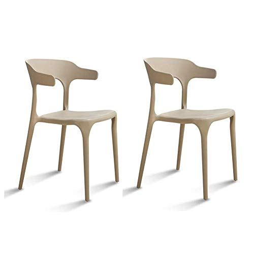 SSSR De Haute qualité épais PP Plastique Matériel Confortable Design Chambre Décoration Moderne Loisirs Chaise Prévient Plastique (Color : Khaki)