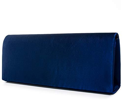 VINCENT PEREZ, Clutch, tasche da sera, borse a tracolla, tasche sotto le braccia in raso, con catena rimovibile (120 cm), 22 x 11 x 3,5 cm (L x A x P), Blu (Blu scuro), Taglia unica