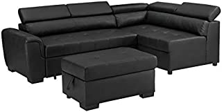 BOWERY HILL Finley Black Leatherette Sleeper Sectional