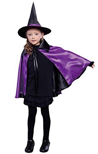 FunPa Halloween Umhang, Hexenhut Kinder Vampir Umhang Halloween Hexenkostüm Mäntel Fasching Party Cosplay Kostüm Dekoration Partyzubehör Geschenk für Halloween