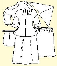 Shift, petticoat, short gown, apron, handkerchief and pocket Pattern (XXL-bust size 48-50