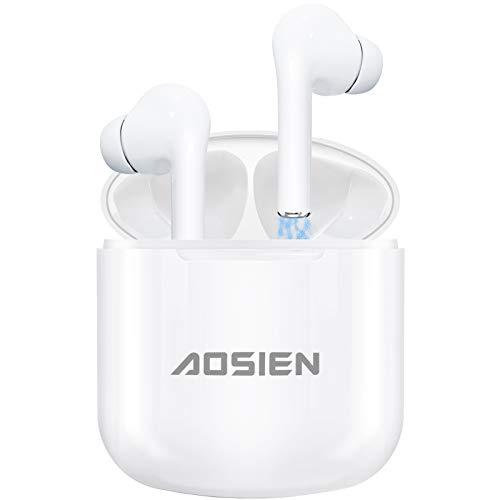 Écouteur Bluetooth Aoslen Écouteurs sans Fil IPX5 Oreillettes Bluetooth Intra Auriculaire 5.0 Intégré Double Micro Contrôle Tactile 25H d'Autonomie Assistant Vocal pour iOS Android Samsung Huawei