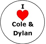 I Love Cole & Dylan Pinback Button Heart Pin 1.25' Sprouse Zack & Cody