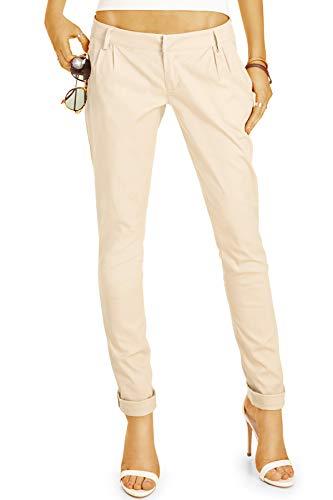 bestyledberlin BE Styled Damen Chinos - Stoffhosen, röhrige hüftige Passform, mit Bundfalten h20a 38/M beige