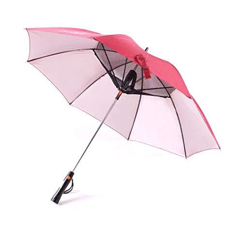 Regenschirm Regenschirm Mit Ventilator USB-Stiel Sun - Proof Regenschirm UV-Schutz Sonnenschirm Mit Ventilator Kühlen Regenschirm (Color : Red)