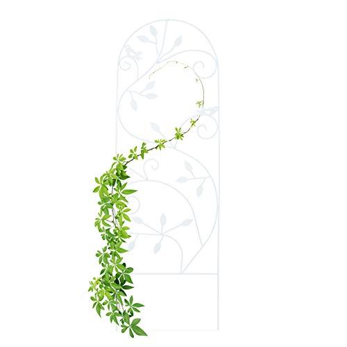 Relaxdays Rankgitter Vogel, Metall, Rankhilfe Garten Deko, Kletterhilfe für Pflanzen, 120 x 40 cm, Rankenmuster, weiß
