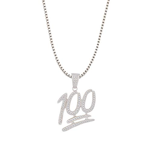 TENGLAI Men Gold-Tone Hip Hop Iced Out Emoji 100 Pendant Necklace with 24' Rope/Box Chain, Fashion Punk Rock Cubic Zirconia Jewelry for Teen Boys Girls