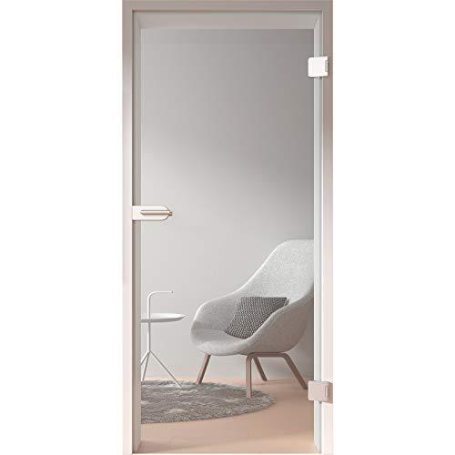 HORI® Glastür Komplettset inkl. Zarge und Türgriff I Klarglas Dreh-Tür aus 8 mm ESG Glas I DIN rechts I 1972 x 834 x 120 mm