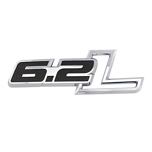 3D 6.2L Engine Emblems Badge Trunk Door Fender Bumper Auto Sticker Decal for 19-21 Chevrolet Silverado 6.2L Gloss Black Emblem Sierra Camaro GMC Ford F150 F250 F350 Trucks (Sliver-Black)