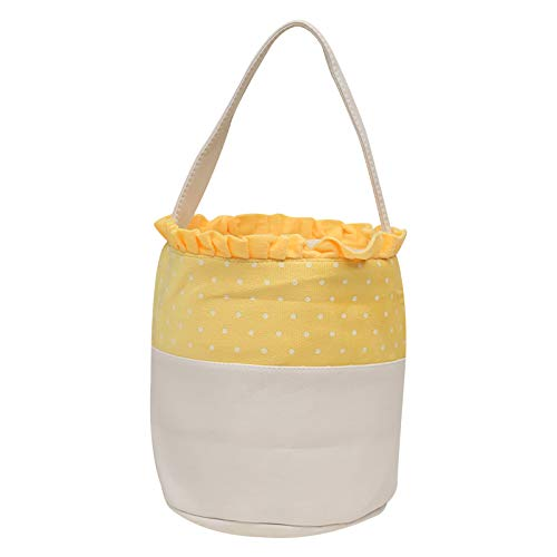 Qikoup Osterkorb Candy Stuffers Bag Hunt Personalisierte Spitze Polka Dot Printed Holiday Party Feiern Sie Geschenke Candy Eggs Tragbare Tragetasche Dekoration
