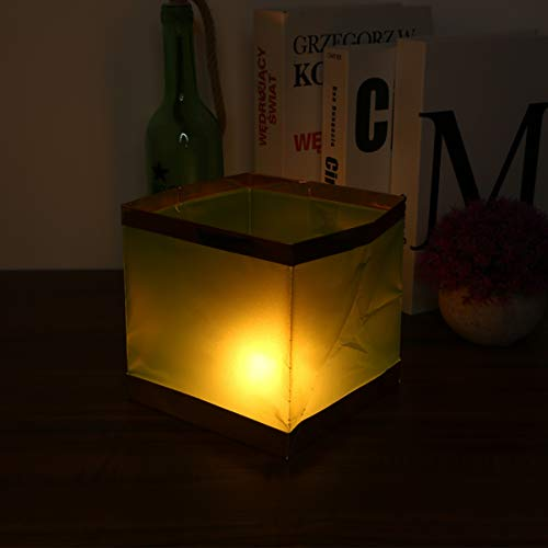 Uonlytech 6PCS Water Floating Lanterns, Floating Chinese Paper Lanterns Square Water Candle Light for Pool Pond Outdoors (Green)