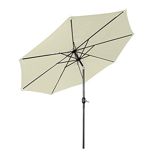Aufun Sonnenschirm 300cm mit kurbel UV Schutz Neigbar 40+ - Beige Alu Balkon Terrassenschirm Marktschirm Gartenschirm (Beige)