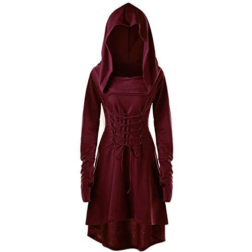 QLQGY S-5XL damesjurk met capuchon, middeleeuwse jurk, Renaissance, Halloween, jager, boog, cosplay, kostuums, vintage, middeleeuwse bandage