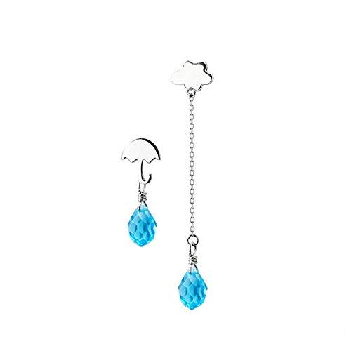 XCWXM 925 Sterling Silver Long Tassel Chain Blue Crystal Dangle Earrings for Women Cloud Drop Earring Fashion