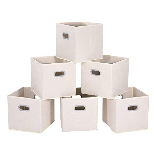 MaidMAX Aufbewahrungsbox aus Stoff im 6er-Set, Aufbewahrungskorb ohne Deckel, Ordnungssystem Stauraum Boxen, Flexible Aufbewahrungskiste für Regal Schrank oder Schublade – Beige