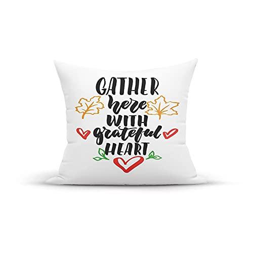 Funda de almohada decorativa vintage, Reúnete aquí con mensaje de corazón agradecido con estampado de motivación de hojas de arce otoñal, fundas de almohada Fundas de cojín para interior y exterior pa