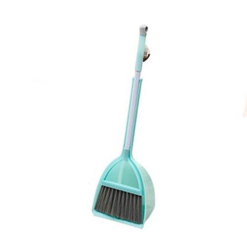 Xifan Mini Broom with Dustpan for Kids,Little Housekeeping Helper Set (Light Blue)