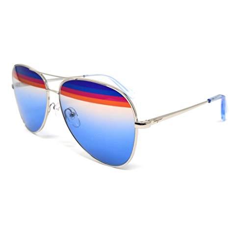 FERRAGAMO SF172S Lunettes de soleil en métal Shiny Silver/Azure Unisexe Adulte, Multicolore, Standard