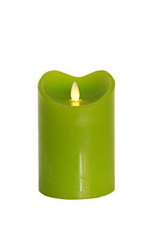 Tronje 14cm Grün LED Echtwachskerze LED Kerze mit Timer D: 9cm bewegter beleuchteter Docht ca. 800 Std. Leuchtdauer