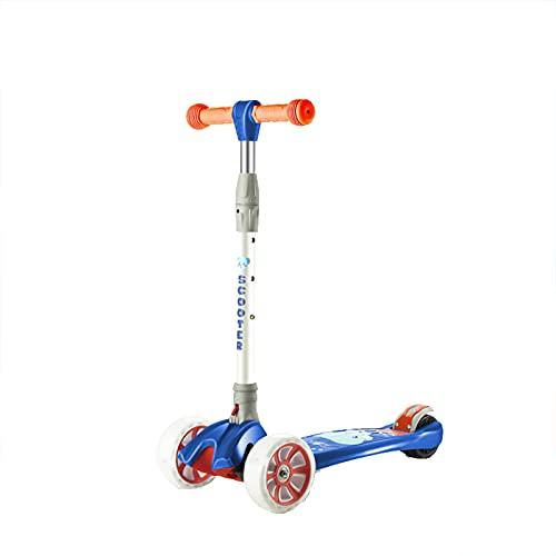 PTHZ Scooter Infantil, Scooter de 3 Ruedas, Altura Ajustable y Llantas LED Intermitentes, adecuadas para niños, niños y niñas, adecuados para 3-12 años,Dark Blue