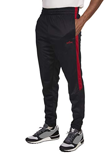 Spalding Mens Tricot Tapered Zipper Track Pants Black/Red Medium