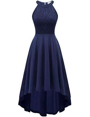 YOYAKER Damen 50er Vintage Rockabilly Kleid Neckholder Cocktailkleid Spitzen Vokuhila Festliche Party Abendkleider für Hochzeit Navy 2XL-1