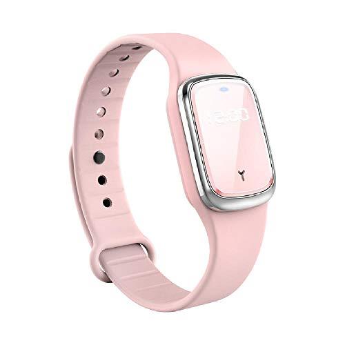 XAJH Pantalla de Reloj Pulsera Repelente de Mosquitos Dispositivo electrónico ultrasónico Niño Adulto Mujer Embarazada Repelente de Mosquitos al Aire Libre,Pink