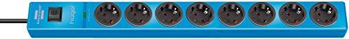Brennenstuhl hugo! regleta enchufes con 8 tomas y protección sobretensiones hasta 19.500A (cable de 2m de largo, interruptor, protección antirayos, montable) azul