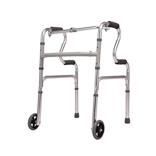 Walker Gehrahmen, Rollatoren Zubehör Faltbarer Dicken Aluminiumlegierung Für Ältere Behinderte (Color : Silver, Size : Wheeled)