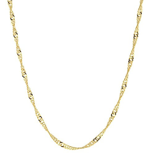 14 Karat / 585 Gold Singapur Kette Licht Zweiseitig Diamantiert Unisex, Länge Wählbar (60)