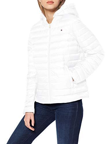 Tommy Hilfiger Damen Th Essential Lw Dwn Pack JKT Jacke, Weiß (White Ybr), 36 (Herstellergröße: Medium)