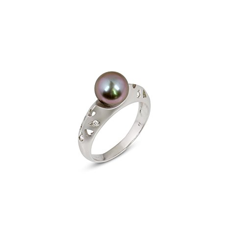 Milano Classic Pearl Ring mit behandelt schwarz japanische Akoya Perlen und Diamanten