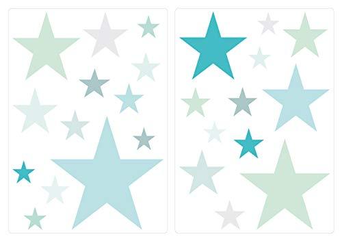 Lot deStickers muraux chambre d'enfant Motif étoiles Pastel Bleu et Vert