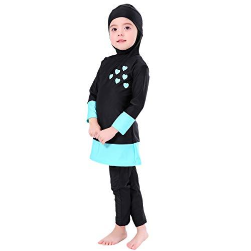 Muslimischen Badeanzug Kinder Baby Mädchen Full Cover Bescheiden Islamische Tops mit Badehose UV-Schutz Schwimmanzug Bademode Set Burkini Schwimmbe Hijab Surfen Kleidung Schwarz 11-12 Jahre