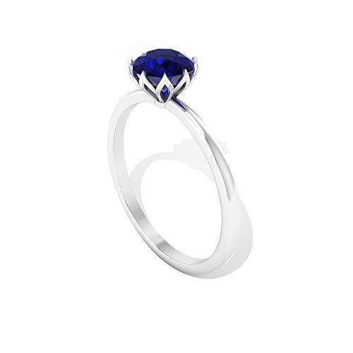 Anillo de compromiso con solitario de corte redondo de 1,05 CT con certificado de zafiro azul creado por laboratorio, simple piedra azul de septiembre, anillo de boda, 14K Oro