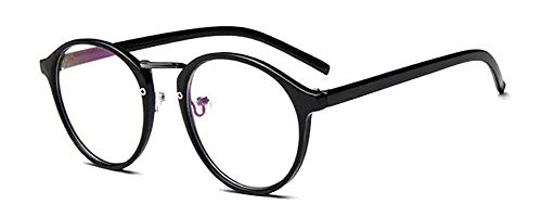 LHSDMOAT Retro klare Linse Gläser klassische ohne stärke Runde brille Nerdbrille Deko Brillenfassung Für Damen Herren (Schwarz)