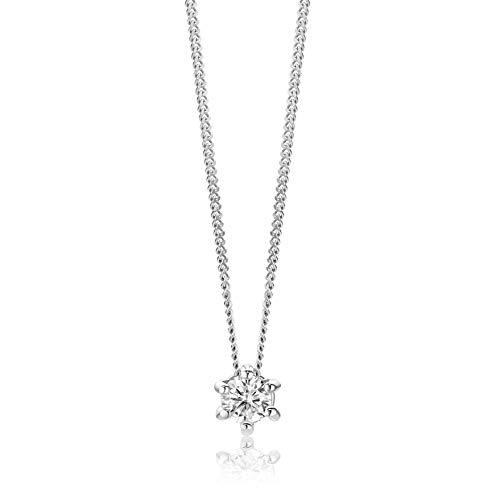 Orovi Collar de mujer de oro blanco, collar con colgante de diamante solitario de 14 quilates (585)...