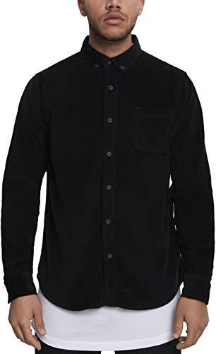 Urban Classics Herren Corduroy Shirt Freizeithemd, Black, M