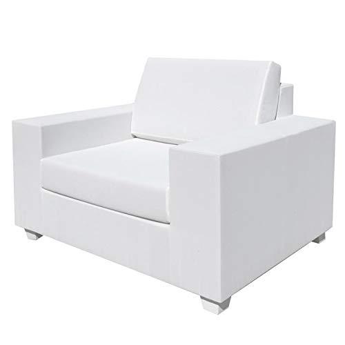 Tousmesmeubles Fauteuil Textilène Blanc - BELITUNG - L 110 x l 88 x H 70 - Neuf