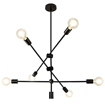 Modern Sputnik Chandelier Lighting 6 Lights Chandelier Mid Century Pendant Lighting Ceiling Light Fixture for Hallway Bar Kitchen Dining Room