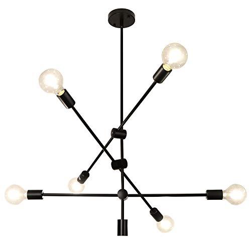 LynPon Sputnik Kronleuchter Industrielle, 6 Flammig Pendelleuchte Vintage, Moderne Schwarz Deckenleuchte Rustikaler Stil für Wohnzimmer, Schlafzimmer, Esszimmer