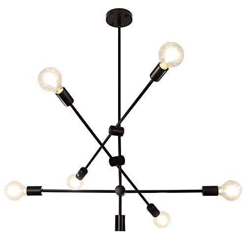 LynPon Sputnik Lámparas de araña 6 Luces Contemporáneo Luminaria de techo Negro...