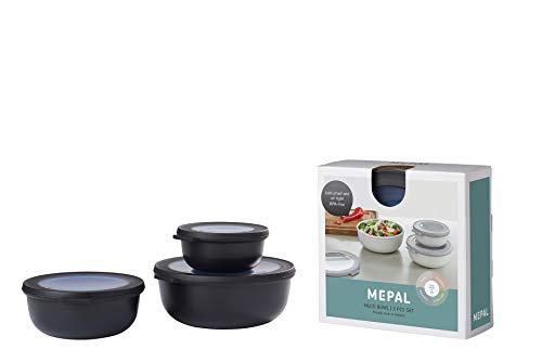Mepal Multischüssel-Set Cirqula 3-teilig – Nordic Black – flach und rund –Inhalt: 350, 750 1250 ml – bruchfestes Material - auslaufsicher – tiefkühlgeeignet - spülmaschinengeeignet