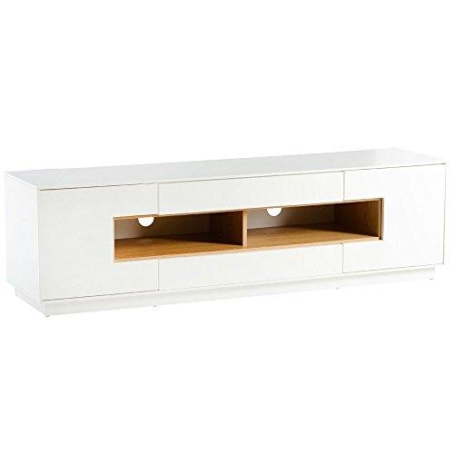 Alpisedia ABSO-Meuble TV Blanc Decor Bois, 40 x 45 x 160 cm