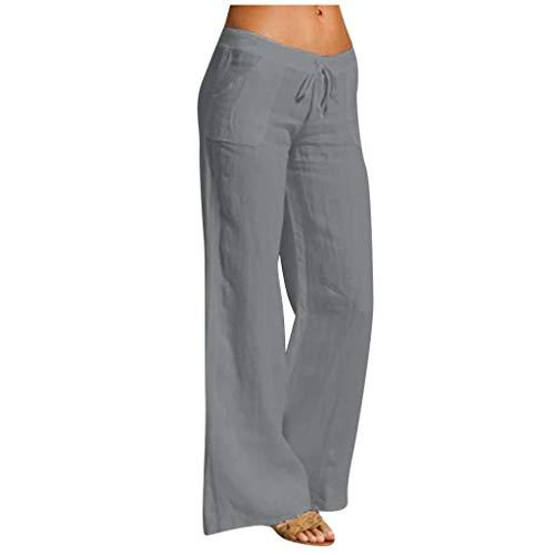 WGNNAA Leinenhose mit Kordelzug Damen Lange Hose Jogginghose Bequem Strandhose Leichte Sommerhose Elastische Taille Breite Bein Hose
