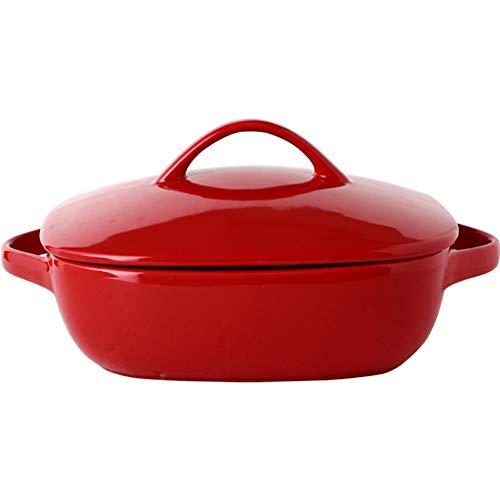ZH Plateau de cuisson en céramique Avec couvercle Binaural Four de résistance à haute température Bol à risotto au fromage Ménage rouge blanc 1620ml Style européen (Couleur : Red)