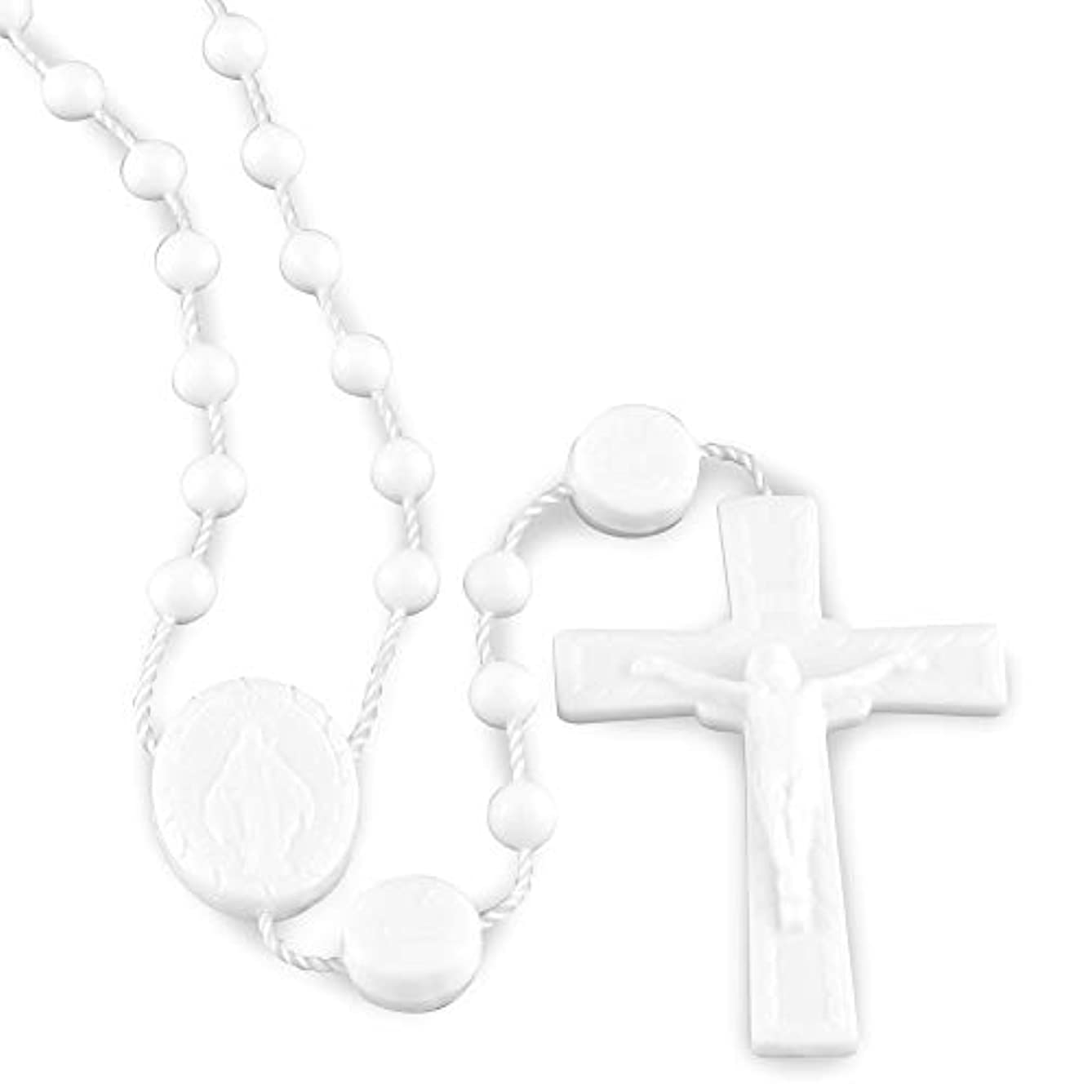 Miraculous Medal White Plastic Beads Rosary - 100 Pack