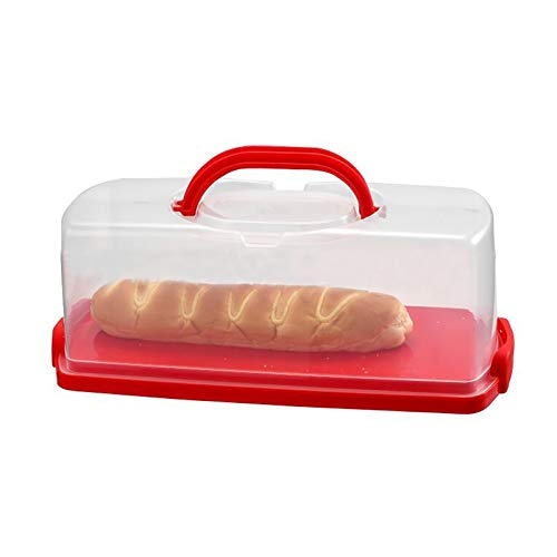 Portable Plastic Rectangular Loaf Bread Loaf Box 13inch Cake Keeper (Red, 1 Pack)