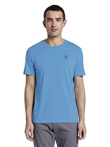 TOM TAILOR Herren Basic T-Shirt, 21184-soft Cloud Blue, XXL