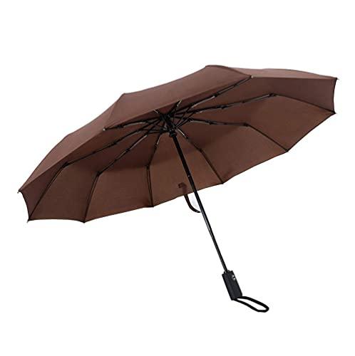 Ckssyao Paraguas Paraguas Paraguas Plegable con Varillas de Apertura y Cierre automáticas Acero Inoxidable 10 Paraguas Ligero Compacto a Prueba de Viento y Paraguas Estable